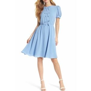 Ellie Crepe Puff Sleeve Dress